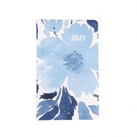 Kalendarz kieszonkowy A6 2021 Niebieski kwiat