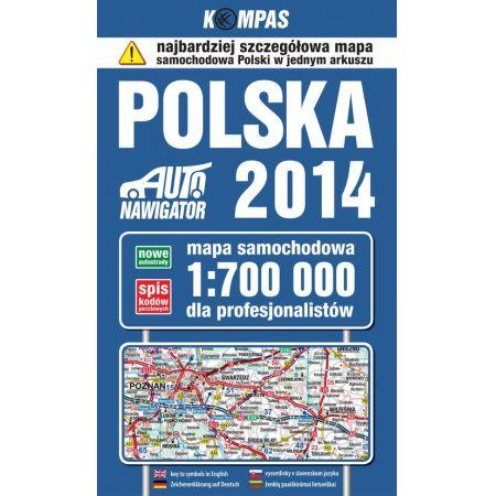 Polska 2014 Mapa samochodowa dla profesjonalistów 1:700 000