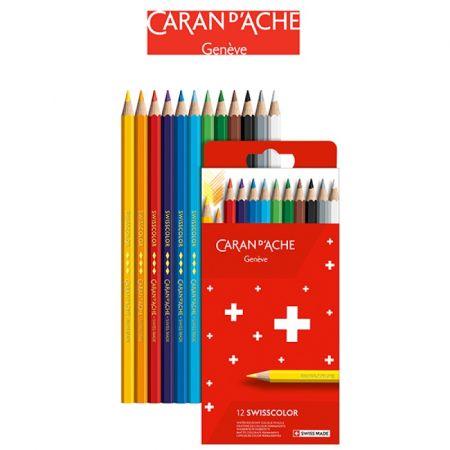 Kredki ołówkowe CARAN DACHE Swisscolor 12 kolorów kartonowe pudełko