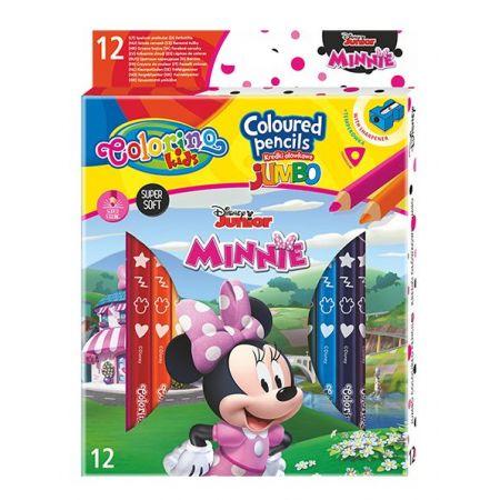 Kredki ołówkowe trójkątne jumbo Colorino Kids 13 kolorów 12 sztuk z temperówką Minnie