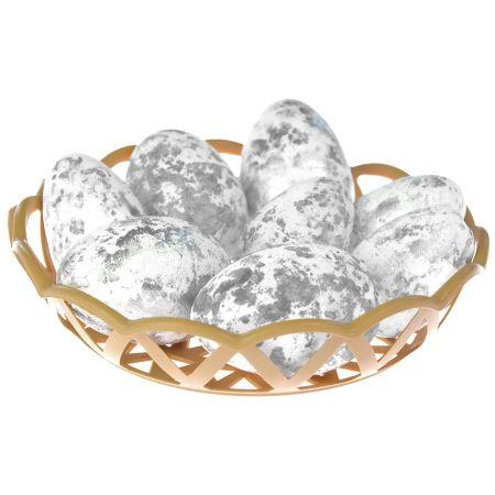 Ozdoba dekoracyjna Jajka w koszyczku srebrne