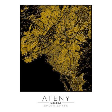 Ateny złota mapa - plakat
