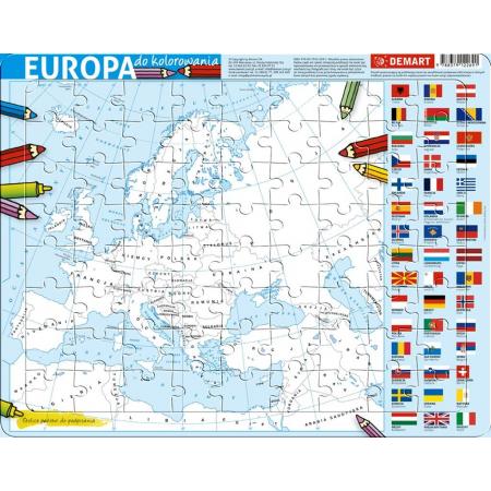 Puzzle ramkowe - Europa kolorowanka