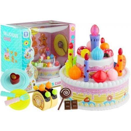 Serwis Urodzinowy Tort Ciasteczka Świeczki Lody