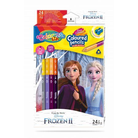 Kredki ołówkowe trójkątne Colorino Kids 24 kolorów 12 sztuk z temperówką  Frozen