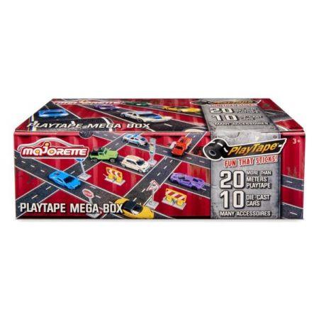 MAJORETTE Playtape mega box Zestaw 10 pojazdów z akcesoriami