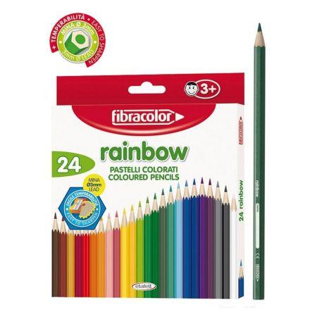 Kredki Rainbow 24 kol+temperówka FIBRACOLOR