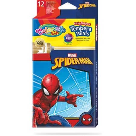 Farby Colorino Kids tempera w tubach 12 kolorów 12 ml Spiderman