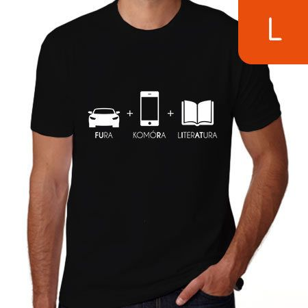TanioKsiążkowa koszulka męska. Fura + Komóra + Literatura. Czarna. Rozmiar L