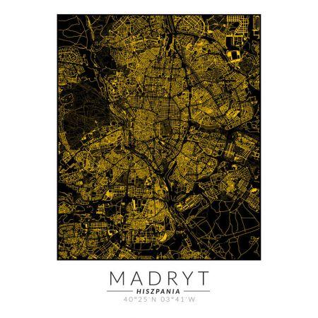 Plakat złota mapa Madryt