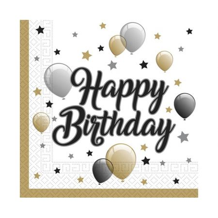 Serwetki papierowe  Balloons  Happy Birthday, rozm. 33 x 33 cm, 20 szt.