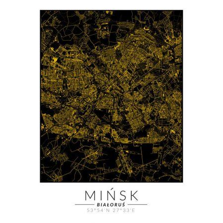 Plakat złota mapa Mińsk