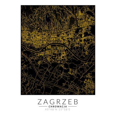 Zagrzeb złota mapa - plakat