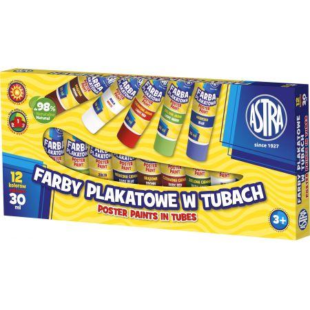 Farby Plakatowe w tubach 12 kolorów 30ml ASTRA