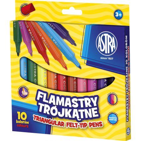 Flamastry trójkątne 10 kolorów ASTRA
