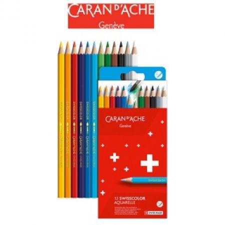 Kredki ołówkowe akwarelowe CARAN DACHE Swisscolor 12 kolorów kartonowe pudełko
