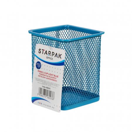 Pojemnik na długopisy metalowy kwadrat niebieski KD804S NIE 466243 STARPAK