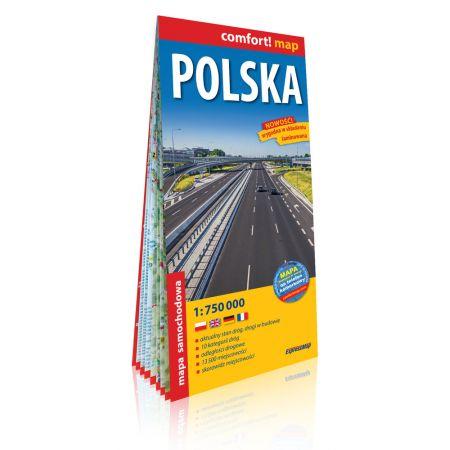 Polska laminowana mapa samochodowa 1:750 000