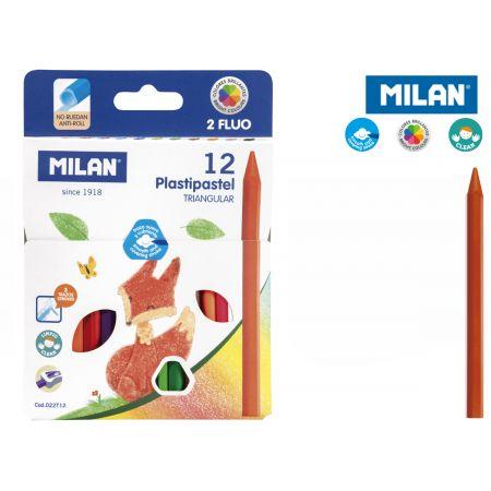Kredki Milan świecowe plastipastel trójkątne 12 kolorów w kartonowym opakowaniu
