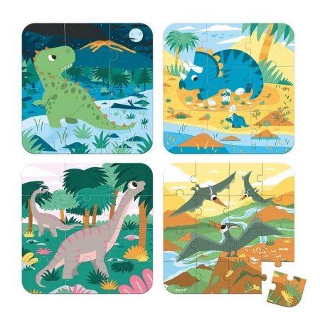 Puzzle progresywne Dinozaury 4 układanki – 6, 9, 12 i 16 elementów
