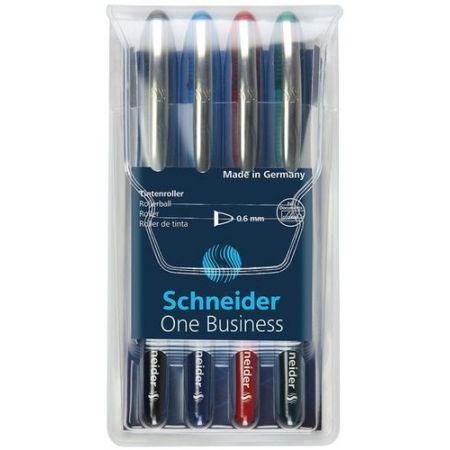 Zestaw piór kulkowych Schneider One Business 0,6 mm 4 sztuki mix kolorów