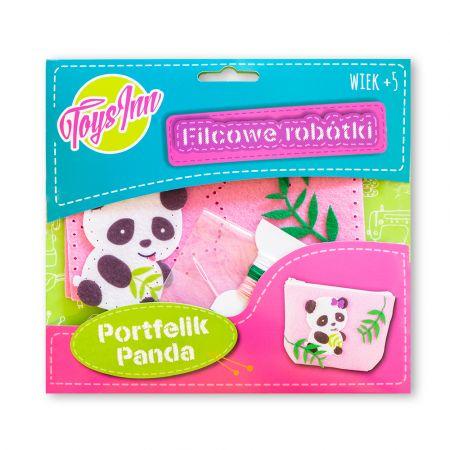 Filcowy portfelik Panda różowy STnux