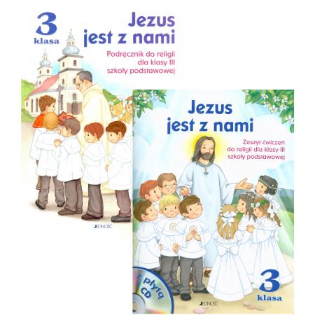 Pakiet Jezus jest z nami: Podręcznik i zeszyt ćwiczeń do religii dla klasy 3 szkoły podstawowej + CD