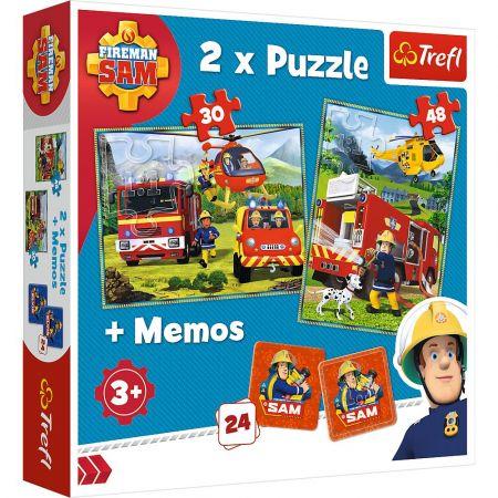 Puzzle 2w1 + memos Strażacy w akcji TREFL